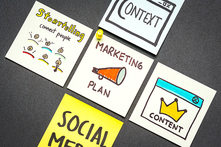 Marketing plan, context, content, storytelling and social media